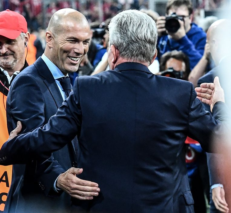 Zidane en Heynckes vorige week in de Allianz Arena.