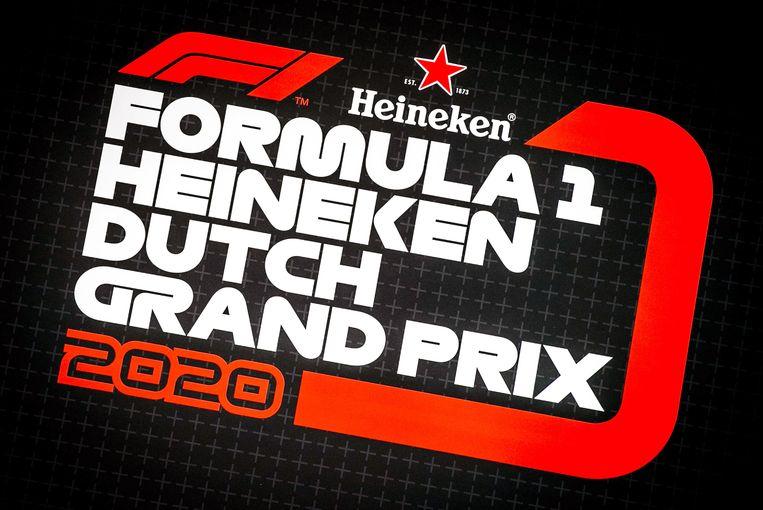 Het logo van de Formule 1 van Zandvoort, getoond op een scherm op het circuit. Beeld EPA