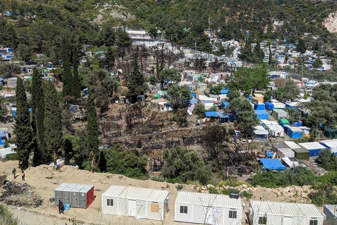 Archiefbeeld van de nasleep van een eerdere brand in een migrantenkamp op Samos.