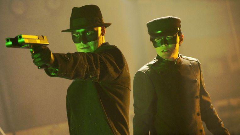 Seth Rogen en Jay Chou in The Green Hornet. Beeld .