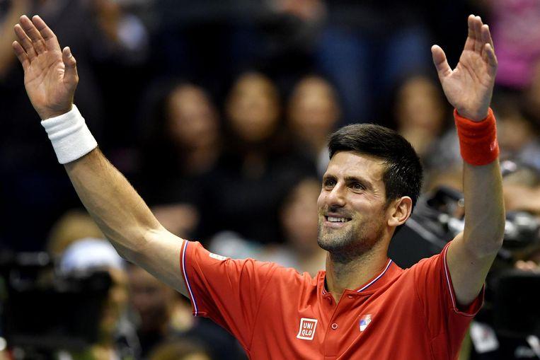 Djokovic tijdens zijn Davis Cupwedstrijd tegen Spanje in 2017.