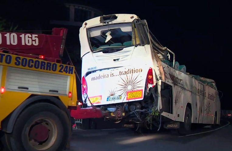 De gecrashte bus in Madeira.