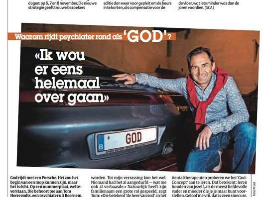 Psychiater Tom Herregodts, gisteren in onze krant, met zijn opvallende nummerplaat.