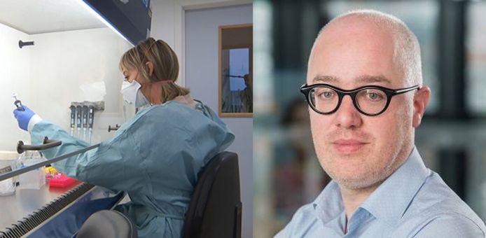 Links: testen in het labo van Marc Van Ranst. Rechts: Geert Vermeir van SD Worx