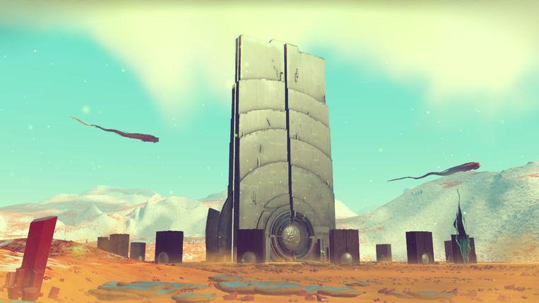 Een verwijzing naar 2001: A Space Odyssey in No Man's Sky. Beeld Hello Games
