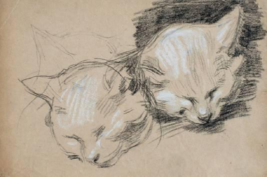 Henriette Ronner-Knip: 3 Studies of a Little Cat