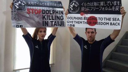 Belgische (23) vrijgelaten uit Japanse cel nadat ze dolfijnenshow verstoorde door in water te springen