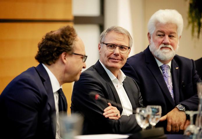 Minister Koolmees van Sociale Zaken en Werkgelegenheid, Han Busker voorzitter van de FNV en  vakbond voorzitter CNV Arend van Wijngaarden tijdens de presentatie van de vernieuwing van het pensioenstelsel