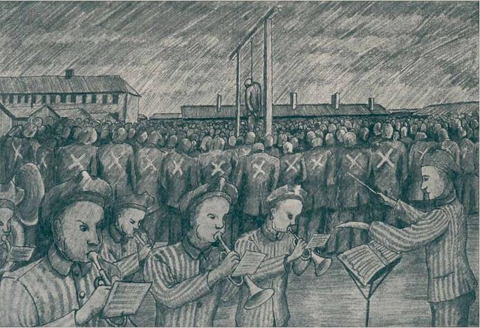 Executie in concentratiekamp Neuengamme, terwijl het kamporkest Alte Kameraden speelt.