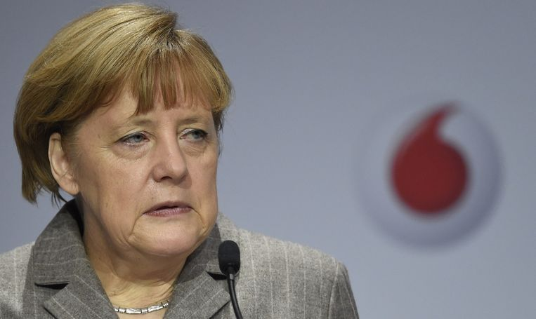 Angela Merkel tijdens haar toespraak in Berlijn. Beeld afp