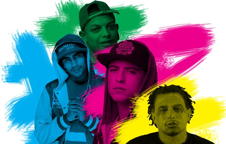 Van links: Mocro Maniac, Ronnie Flex, Lil' Kleine, Fresku Beeld Studio V