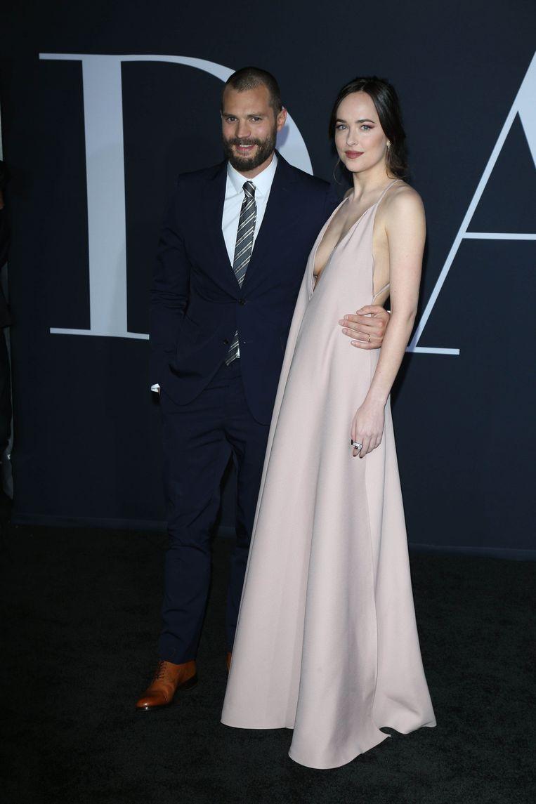 Jamie Dornan en Dakota Johnson op de première van 'Fifty Shades Darker'.