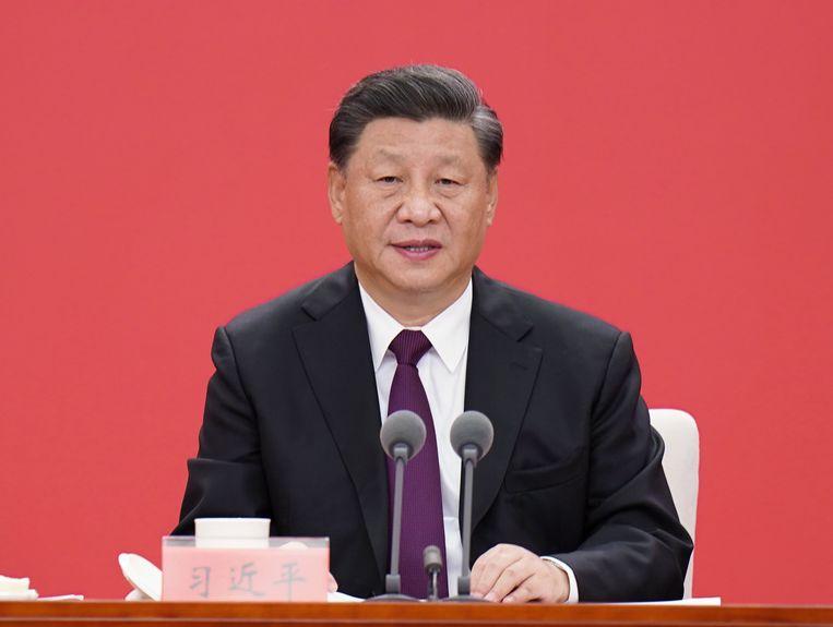 Xi Jinping houdt een toespraak. Beeld EPA