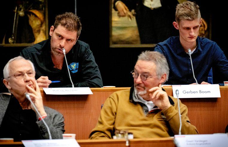 Mark van den Oever (linksboven) tijdens de inspraakronde in het provinciehuis in Den Bosch. Beeld ANP