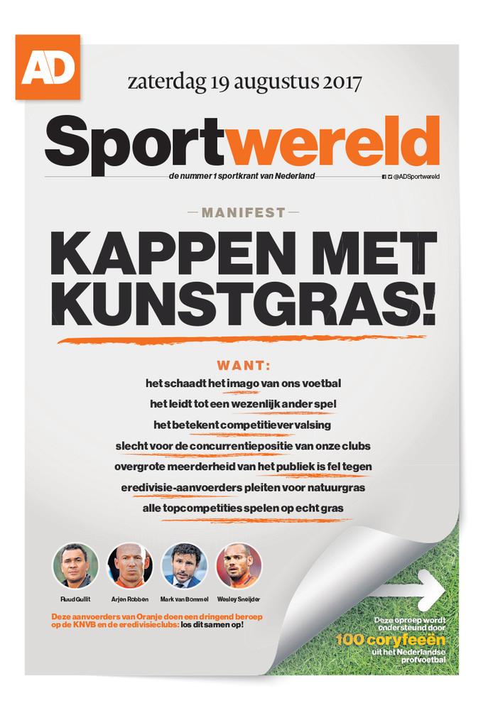 De cover van AD Sportwereld als pamflet.