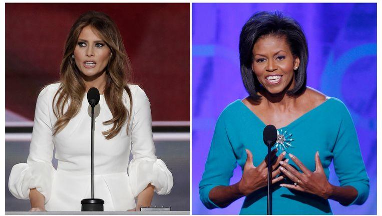 Twee first ladies die dezelfde speech geven: Melania Trump haalde vorige zomer de mosterd bij Michelle Obama.