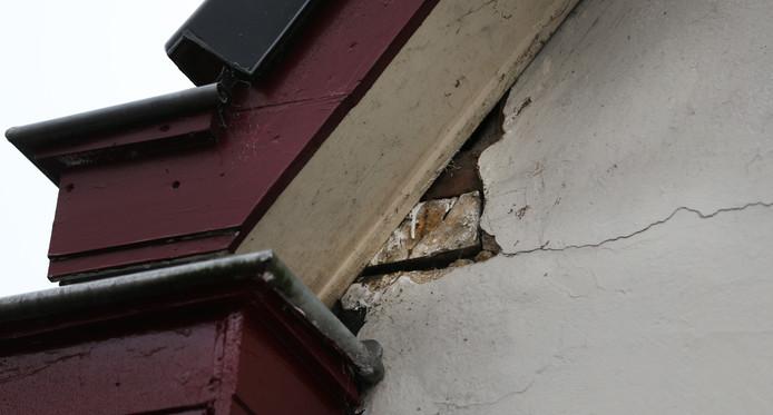 Schade aan een woning in Slochteren.