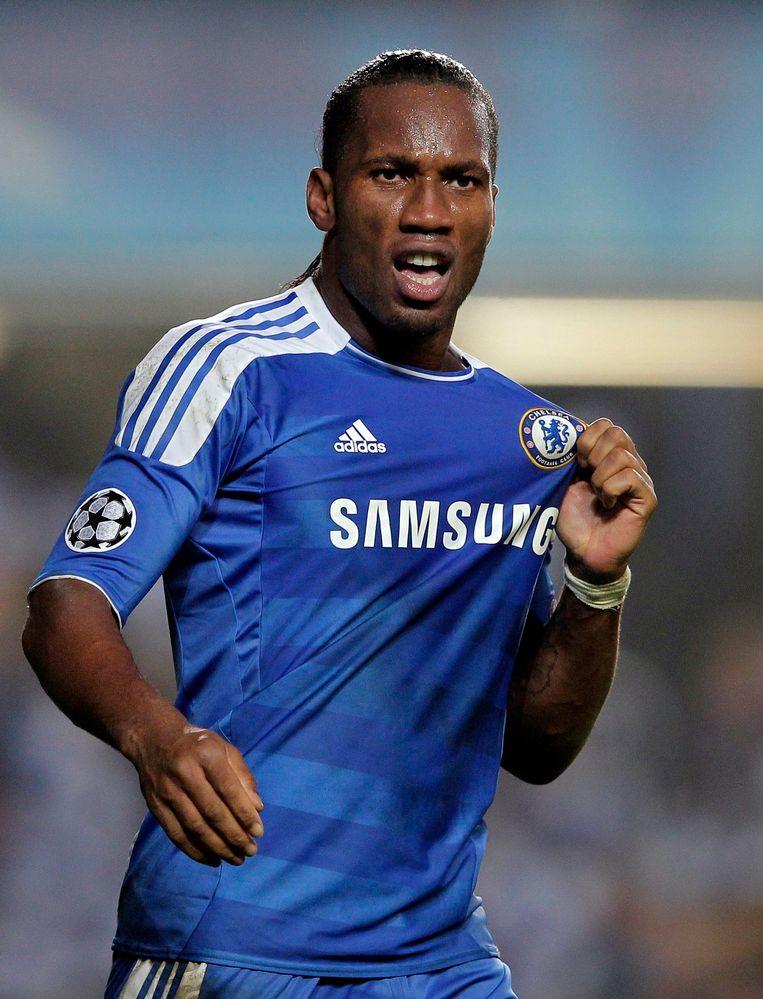 Didier Drogba in het shirt van Chelsea.