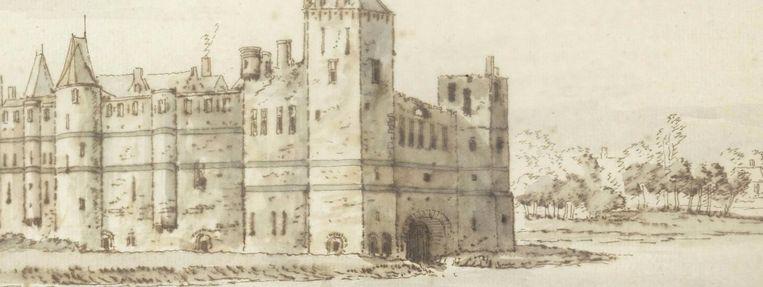Een tekening van de burcht waar de Graventoren deel van uitmaakte.