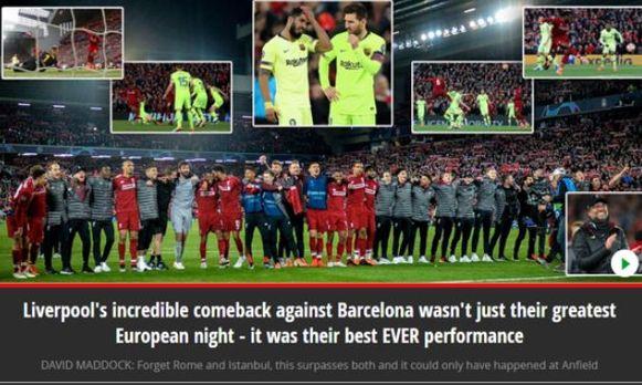 Voor de 'Mirror' was de comeback van Liverpool niet louter hun strafste Europese nacht, het was ook hun beste match ooit.