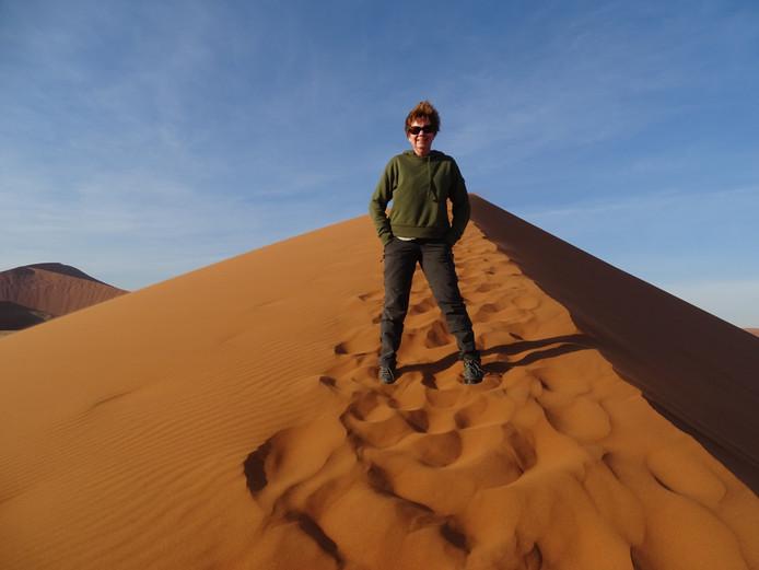 De Lange Duinen in Soest zijn misschien mooi, maar de rode maar de rode zandduinen van Sossusvlie in Namibië mogen er ook best wezen. Deze foto werd gemaakt op 170 meter hoogte.