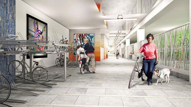 Een simulatiebeeld van een van de nieuwe overdekte fietsparkings.