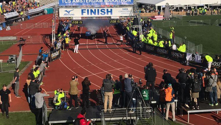 De geboren Somaliër veroverde voor de tweede keer in zijn loopbaan de Nederlandse titel op de marathon. Beeld Thomas Sijtsma