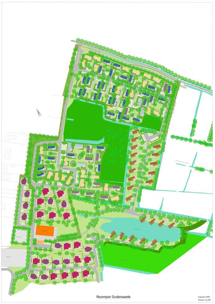 Grondplan van het nieuwe vakantiepark, waar in een eerste fase 128 vakantiewoningen komen.