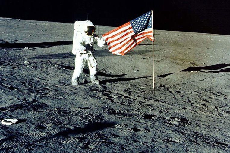 Amerikaan op de maan: Charles 'Pete' Conrad Jr. tijdens de Apollo-missie in 1969. (Reuters) Beeld