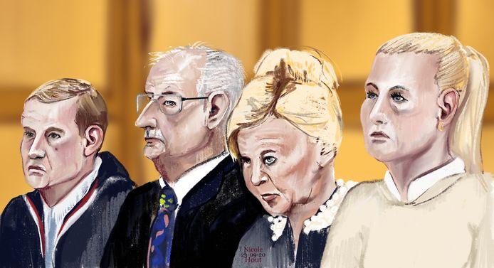 De familie Visser in de rechtbank in Den Bosch. Vanaf links zoon Ger jr., Ger, Patricia en dochter Kristel.