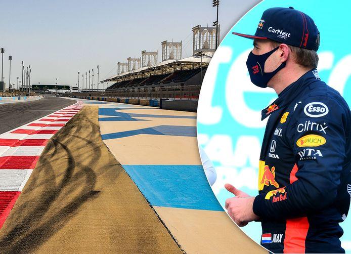 Het circuit van Sakhir. Inzet: Max Verstappen.