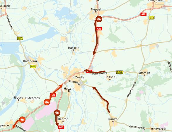 Files dinsdagmorgen richting Zwolle.