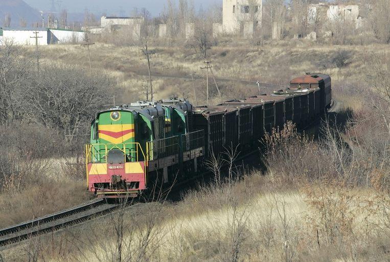 De trein bij de stad Torez Beeld epa