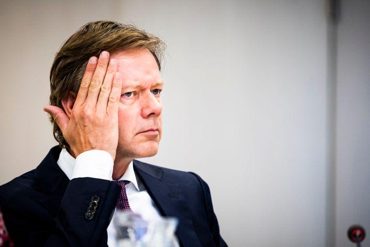 Joel Voordewind (CU) tijdens een Algemeen Overleg over Vreemdelingen- en asielbeleid in de Tweede Kamer. Beeld Freek van den Bergh