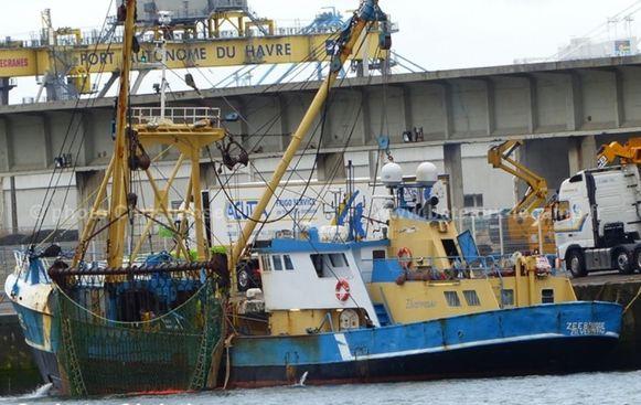 Archieffoto. Het schip Z.15 Zilvermeeuw, waarmee Fernand Musschie in Milford Haven was aangemeerd.