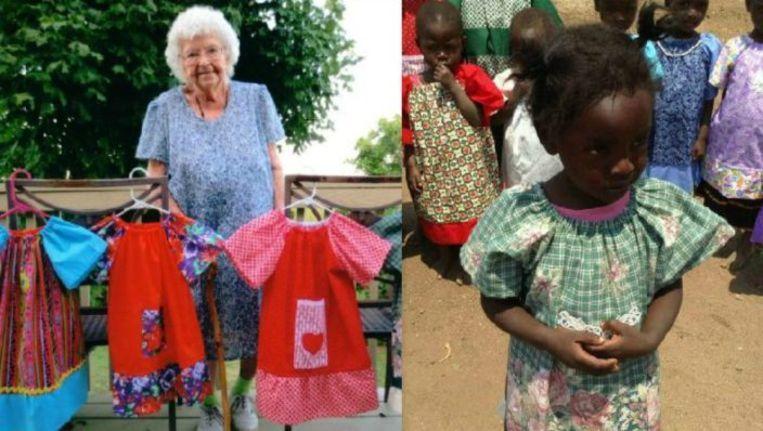 Lilian Weber met enkele van de jurkjes die ze maakte en rechts een Afrikaans meisje in een creatie van de eeuwelinge.