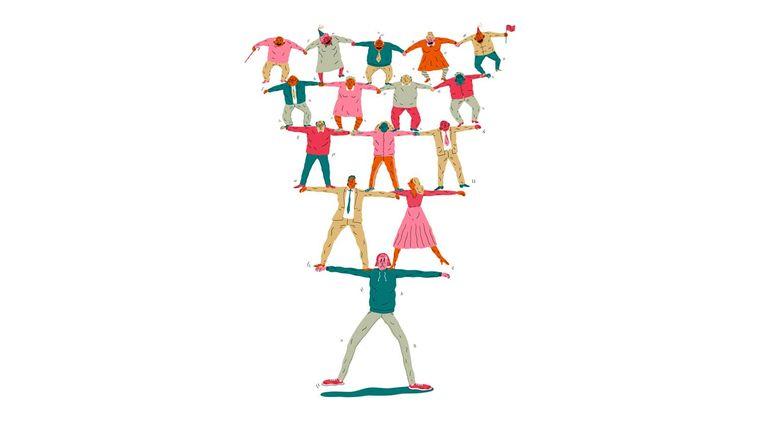 Het pensioenstelsel als piramide: wie betaalt voor wie? Beeld Nanne Meulendijks