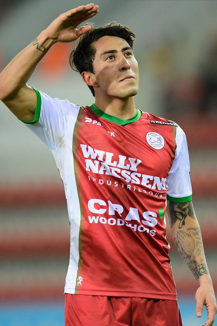 Omar Govea na zijn doelpunt tegen STVV, in december vorig jaar. Photo by Nico Vereecken / Photo News