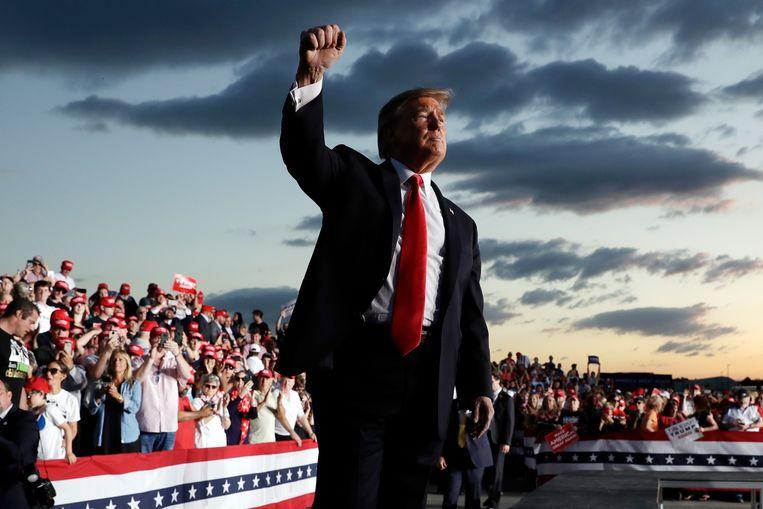 Trump tijdens een campagnebijeenkomst in mei in Montoursville, Pennsylvania. De president lanceert morgen in Florida de campagne voor zijn herverkiezing.