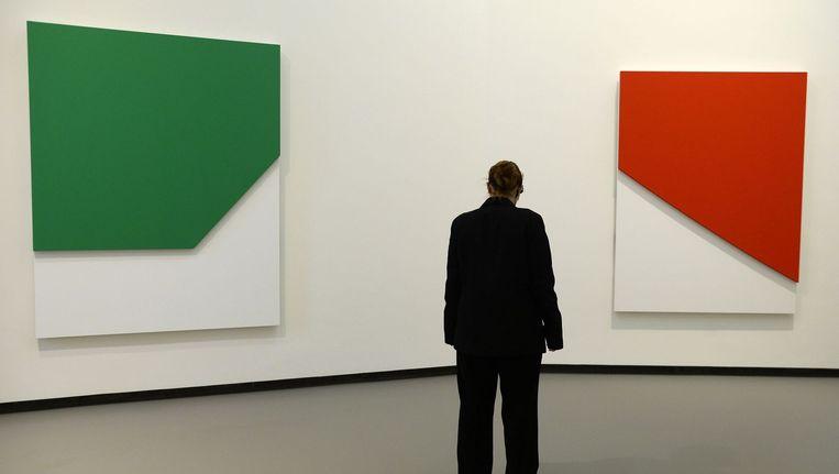 Twee werken van Kelly, tentoongesteld bij de Louis Vuitton Foundation in Parijs in 2014. Beeld anp