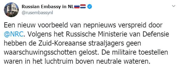 Reacties van de Russische ambassade op Twitter over mediaberichten.