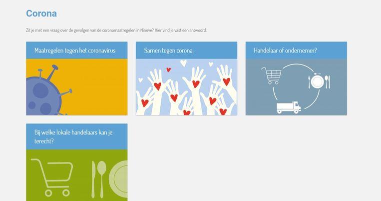 De nieuwe webpagina die de stad Ninove lanceerde over het coronavirus voor burgers en lokale handelaars.
