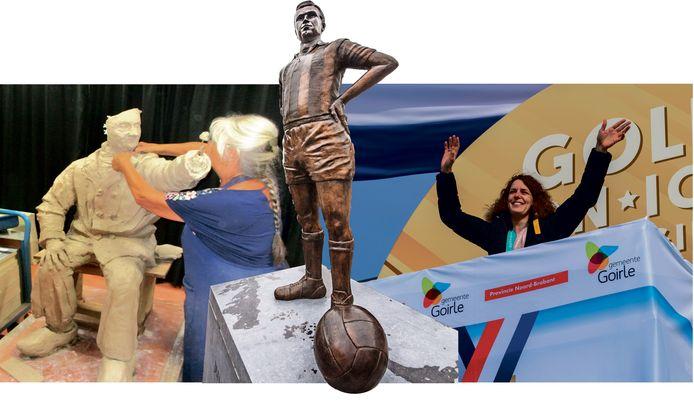 Montage van het beeld van de Ballefrutter in de maak, bestaande beeld van voetballer Van Roessel en Ireen Wüst tijdens haar huldiging in Goirle.