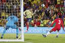 James Rodríguez koppend in actie namens Colombia tijdens een interland gisteren tegen Panama.