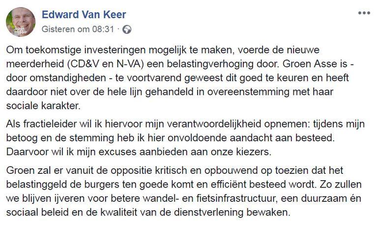 Facebookpost Edward Van Keer