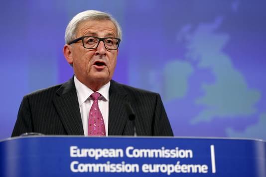 Voorzitter van de Europese Commissie Jean-Claude Juncker na afloop van het topoverleg.