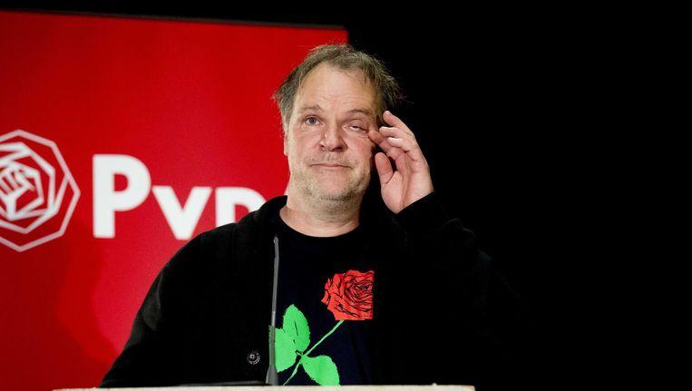 PvdA-voorzitter Hans Spekman tijdens de politieke ledenraad van de Partij van de Arbeid in het Beatrixkwartier. Spekman stapt op na de nederlaag bij de Tweede Kamerverkiezingen. Beeld anp
