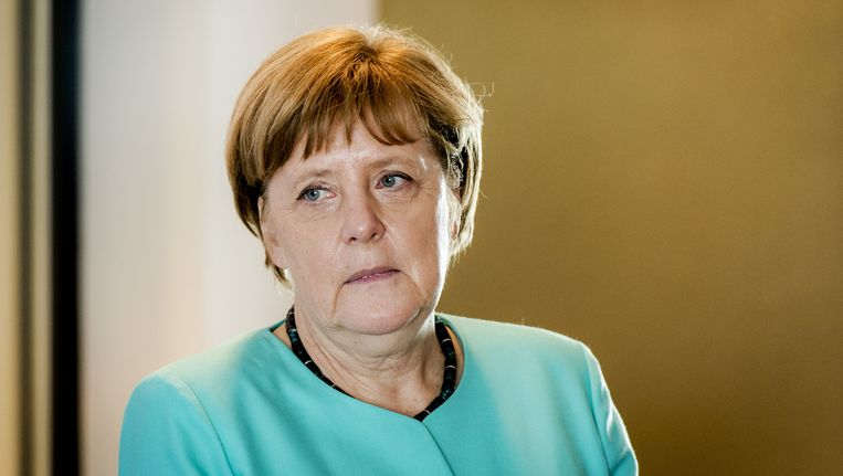 Duitse bondskanselier Angela Merkel tijdens haar werkbezoek in Eindhoven. Beeld anp