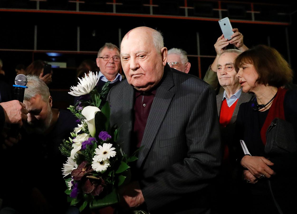 De voormalige Sovjetleider Michail Gorbatsjov tijdens de premiere van de film Meeting Gorbachev, donderdag in Moskou.