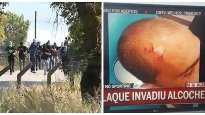 Hooligans vallen spelers Sporting Lissabon op training aan met fakkels en strijkijzers, Bas Dost loopt hoofdwonde op